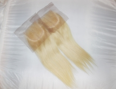 "Lace Closure 4""X4"" Brazilian Virgin Hair Straight Blonde Color 613# Swiss Lace Free Parting"
