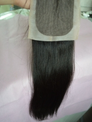 "Silk Base Closure 4""X4"" Brazilian Virgin Hair Straight Swiss Lace Free Part"