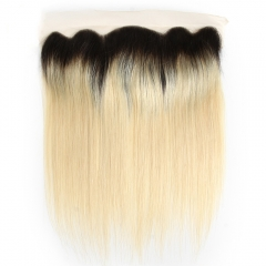 "Ombre Blonde 1B/613 Lace Frontal 13""X4"" Peruvian Virgin Hair Silky Straight"