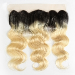 "Lace Frontal 13""X4"" Peruvian Virgin Hair Body Wave Ombre Color 1B/613"