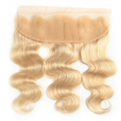 "Frontal 13""X4"" Peruvian Virgin Hair Body Wave  ear to ear closure blonde color 613"