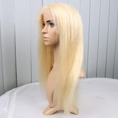 Blonde Lace Front Wigs Virgin Brazilian Hair 150% Density Color 613 Silky Straight