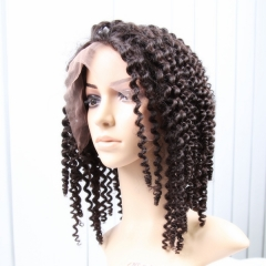 Lace Front Wigs 150% Density Virgin Brazilian Hair Jerry Curl Natural Color