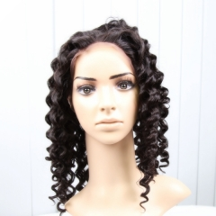 Lace Front Wigs 150% Density Brazilian Virgin Hair Italy Curly Natural Color
