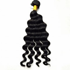 Brazilian Virgin Hair Weave Loose Deep Wave Natural Color 1 Bundle