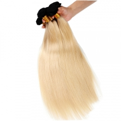 Ombre Blonde Hair Weave Brazilian Remy Hair Straight 1b/613# 1 Bundle Deal