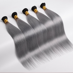 Ombre Hair Brazilian Remy Hair Straight 1b/grey 1 Bundle Deals