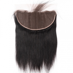 "Lace Frontal 13""X6"" Peruvian Virgin Hair Straight  Natural Color Ear To Ear Closure"