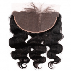 "Lace Frontal 13""X6"" Peruvian Virgin Hair Body Wave  Natural Color Ear To Ear Closure"